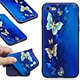 DENDICO Coque iPhone 7 Plus / 8 Plus, Ultra Mince Silicone Coque pour Apple iPhone 7 Plus / 8 Plus, Étui Housse Protection Anti Choc Bumper Case Cover - Bleu, Papillon