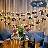 LEDGLE Striscia di 30 lampadine a LED con clip per fotografie, ideale per decorazioni natalizie o feste, 8 modalità di illuminazione, carica USB, telecomando wireless, luce bianca calda, adatto per uso esterno