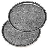 Menax Focus - Molde de Horno para Pizza - Aluminio - 5 Capas de Recubrimiento Antiadherente - Set de 2 - Made in Italy