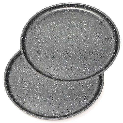 Menax Focus - Moules à Pizza - Plaque à pizza Anti-Adhésive - Set 2 - Acier au Carbone - Ø 30 cm