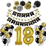 Yoart 18. Geburtstag Dekorationen, Geburtstag Party Dekorationen Sets für Männer Boy Alles Gute zum Geburtstag Banner mit DIY Seidenpapier Pom Poms, Latex Party Ballons - schwarz, Gold und Silber