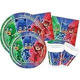Ciao Y4321 - Kit Party Festa in Tavola PJ Masks per 8 persone (44 pezzi: 8 piatti grandi, 8 piatti medi, 8 bicchieri, 20 tovaglioli)
