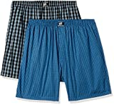 Hanes Men's Checkered Cotton Boxer Shorts (Pack of 2)(P108_Black_Blue Checks_L)