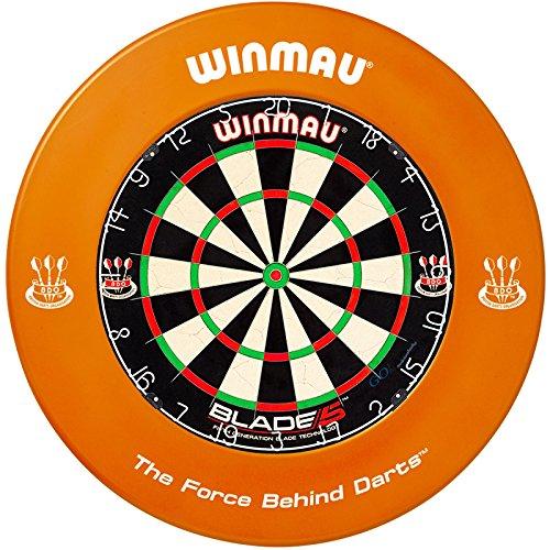 Winmau Dartboard Blade 5 Tunierdartscheibe mit Winmau Surround in verschiedenen Farben (Orange)