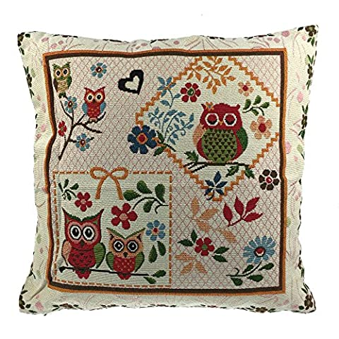Luxbon Vintage Lover Owls Birds Jacquard Woven Tapestry Cushion Cover