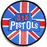 "Aufnaher Sex Pistols Britain Union Jack Nation Flag Heavy Metal Rock Punk Music Band Logo Polo T shirt Patch Sew Iron on Embroidered Badge Sign Costum Size 3""Width X 3""Height"