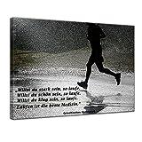 Leinwandbild mit Zitat - Laufen Medizin. - (Griechisches Sprichwort) 50x40 cm - Sprüche und Zitate - Kunstdruck mit Sprichwörtern - Vers - Bild auf Leinwand - Bilder als Leinwanddruck