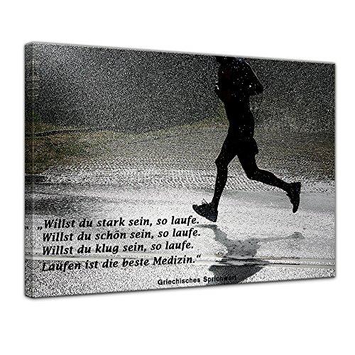 Bilderdepot24 Leinwandbild mit Zitat – Laufen ist die Beste Medizin. – (Griechisches Sprichwort)