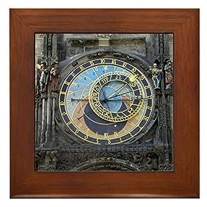 cafepress Prague encadrée Horloge astronomique de carrelage:–Standard Multicolore