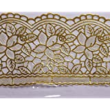 Prem Industries 4 Seater Coffee & Centar Table Cover 3D Transparent With Lace & Floral Designer Golden Lace Print (Exclusive Design) 40X60 Inches