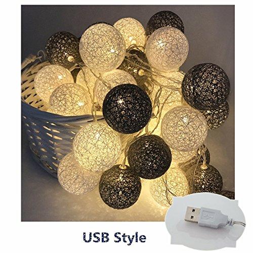 LED Lichterkette mit Baumwollkugeln, Morbuy 6cm Kugeln Mit 20 Bällen 4M USB Deko Licht Festlich Hochzeiten Geburtstag Party Cotton Ball Themen Weihnachten Lichterkette Dekorative (Kaltes Grau)