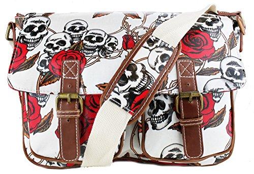 Miss Lulu Borsa de donna Borsa messenger Borse incrociate di fiore di uccello di cartella di scuola (L1107CT Beige) - Skull & Rose White