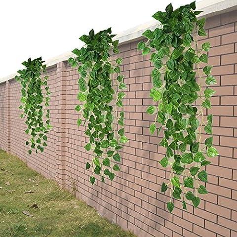 HugeStore 90cm Kunstpflanze Künstliche Weinrebe Blätter Künstlicher Efeu Hänger Efeugirlande Pflanze Deko 3