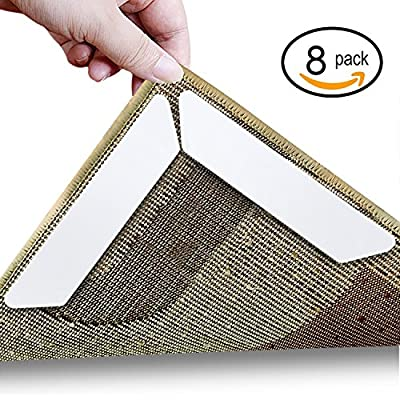 Rug Gripper, Anumit Home Non Slip Sticker Carpet Pad With Anti Curling, Multi Purpose Reusuable Nano Gel Pads for Office Kitchen Bathroom, 8 Pcs (White) - cheap UK light shop.