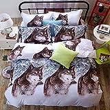 3d juego de ropa de cama Impreso color blanco nieve lobo funda de edredón colcha juego de...