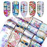 Moonuy Autocollants de Noël d'ongle, 116Pcs / Set DIY autocollants de transfert d'ongles holographiques Gradient Maze Nail Foils Conseils Nail Art Stickers (multicoloure)