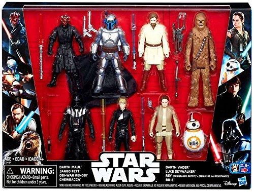 Spielfiguren Star Wars Megaset Spiel- und Sammel Figuren 8-er Pack - mit Darth Maul, Jango Fett, Obi-Wan Kenobi, Chewbacca, Darth Vader, Luke Skywalker, Rey, BB-8 (Star Wars Figur Spielzeug)