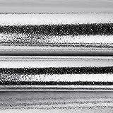 YUELA Selbstklebende dicke Schränke, feuchtigkeitsbeständigen Aluminiumfolie wasserdicht Küche öl Aufkleber Fliesen hohe Temperatur herd Alufolie tide pad Papierfach Pad 60 cm * 5m golden Moiré-Effekt Moire, Silber