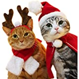 kungfu Mall, 1 Set (4 Pezzi), Mantello Natalizio per Animali Domestici, Cappello da Babbo Natale, Sciarpa, Cappello, Colletto