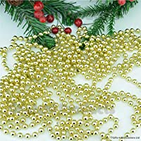 SHATCHI 7.2m (24ft) Gold Shiny Beaded Chain Garland Tinsel Sequin Christmas Tree Decorations