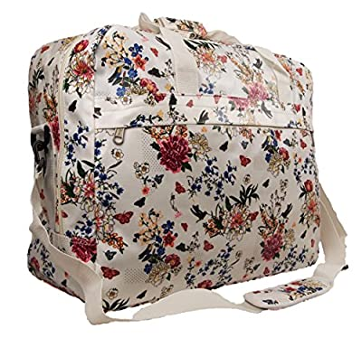 Brand New Large Womens Oilcloth Chervi Polka Floral Hand Luggage Travel Holdall Cabin Bag