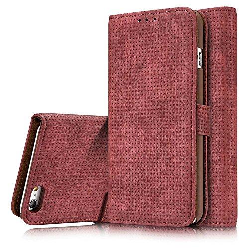 iPhone 7 Custodia, Cover iPhone 7 - Dfly Custodia In Pelle Con Invisibile Forte Inarcamento Magnetico Doppio Side Magnete Design Flip Cover Per Apple iPhone 7, Rosso