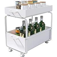 Plasaig - 2 Niveaux Etagere de Rangement sous Evier Rack, avec tiroir coulissant pour Cuisine, Salle de Bain, Chambre…