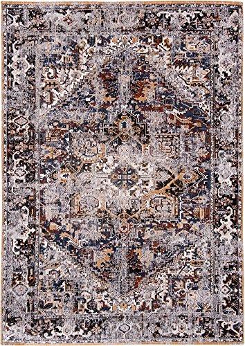 Louis de poortere tappeti designer antiquario heriz 8707divano blu anticata in stile vintage sbiadito e area rugs, blue, 230x330cm - (7'6x10'8)