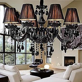 vivreal modern kristall deckenleuchte kronleuchter l ster h ngeleuchte glas deckenlampe schwarz. Black Bedroom Furniture Sets. Home Design Ideas