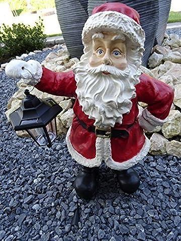 Weihnachtsdeko Figur außen und innen Weihnachtsmann groß mit LED Solar Laterne | Deko Figur Weihnachten beleuchtet 80cm wetterfest - handgefertigte und handbemalte riesige Weihnachtsmann Statue mit Solarlaterne - mit integriertem Dämmerungssensor - sehr liebevoll detailliert - tolle Weihnachtsdekoration für den Garten und Außenbereich - auch als Weihnachtsdeko für innen