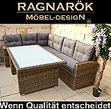Ragnarök-Möbeldesign DEUTSCHE Marke - EIGNENE Produktion 8 Jahre GARANTIE auf UV-Beständigkeit PolyRattan Gartenmöbel Tisch + Dinning Lounge