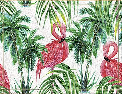 SRJ2018 Dos flamencos Rosados pie Frente árbol Coco