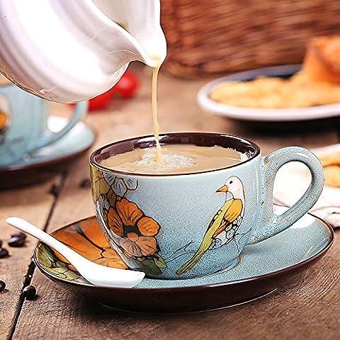 crazysell main en Chine en émail de Tasse à thé tasse à café en céramique avec soucoupe en porcelaine pour maison cuisine fête mariage anniversaire cadeau de Noël Style A