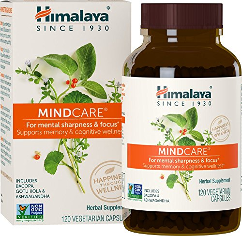 MINDCARE | Boosts Memory and Focus | Stress and Anxiety Relief | No  Caffeine | by Himalaya (since 1930) (120 Vegan Capsules)