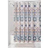 InterDesign Clover Medallion Duschvorhang | 183,0 cm x 183,0 cm großer Vorhang für Badewanne und Dusche | Duschvorhang mit Ösen und tollem Muster | Polyester hellbraun/bunt