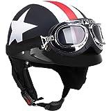 KKmoon metà Aperto Faccia Casco del Motociclo con Occhialoni Moto di Protezione Visiera Sciarpa del Motociclista Motorino Tou