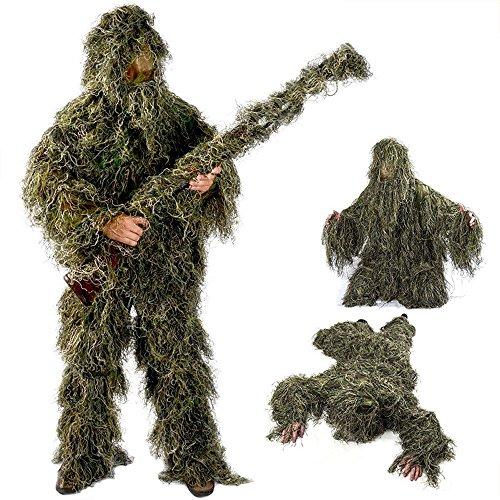 Jagd Kleidung Set Camouflage Bionic Camouflage Kleidung Jagd Lieferungen Geely Kleidung Outdoor Laub Vogel Kleidung (Fünf-Stück Anzug),Green,XXL