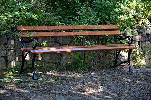 dobar Große Garten Sitzbank aus Gusseisen massiv, FSC für draußen wetterfest, Holzbank mit Lehne aus Metall, 180 x 45 x 72,5 cm, braun - 6
