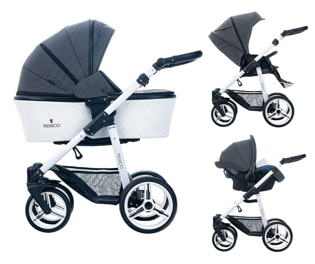 Venicci Pure 3-in-1 Travel System - Denim Black - with Carrycot + Car Seat + Changing Bag + Apron + Raincover + Mosquito Net + 5-Point Harness and UV 50+ Fabric + Car Seat Adapters + Cup Holder  3 in 1 Travel System with included Group 0+ Car Seat Suitable for your baby from birth until 36 months 5-point harness to enhance the safety of your child 1