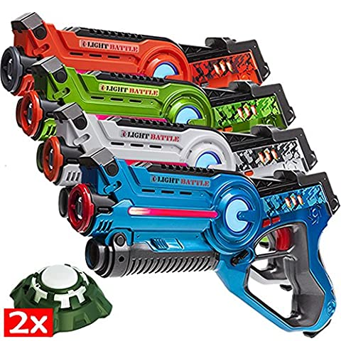 4 Light Battle Active laser tag toy guns and 2 Light Battle Targets - display box LBAP2421234D