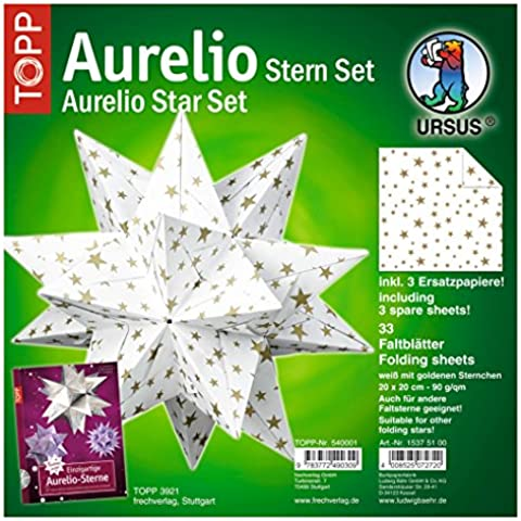 Ursus 15375100 - Ursus - folletos aurelio 20x20cm asterisco estrella, estrella de oro / blanco