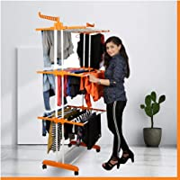 Magna Homewares Heavy Duty Steel ABS Plastic Grandis Plus 6 Racks Double Poles Cloth Drying Stand with Cloth Hangers…
