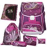Spirit Purple BUTTERFLY - Schmetterling - Leicht-Schulranzen-Set 5teilig - Gratis dazu! : Hochwertige HEFTMAPPE (Wert 19,95€) boi