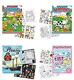 "Childrens Sticker Activity Books - Pack of 4 Books 8.25"" x 11.5"" - Farm Animal Stickers, Princess, Pirates, Horse, Farm Animals Activity Sticker Book"
