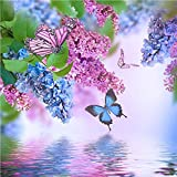 Greatmin DIY 5D Full Drill Diamond Painting Rhinestone Embroidery Cross Stitch Arts Craft for Home Decoration Wisteria Flowers and Butterfly 11.8 x 11.8 inches