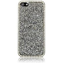 Xtra-Funky Exclusivo Apple iPhone 5 / 5S Crystal Rhinestone Rocas del estuche rígido con espumoso Diamante ribete y Chrome Llanta - Plata