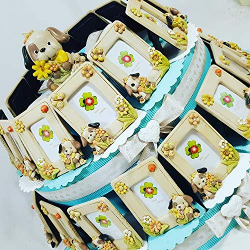 Bomboniere portafoto battesimo bimbo cornice cagnolino su fetta di torta bomboniera con confetti crispo (torta da 12 fette a 1 piano)