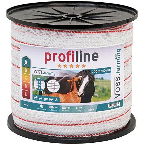 VOSS.farming Weidezaun Band 200m, 40mm, 1x0,3 Kupfer + 9x0,2 Niro, weiß-rot 3*** Weidezaunband Weidezaunbreitband Pferdeband
