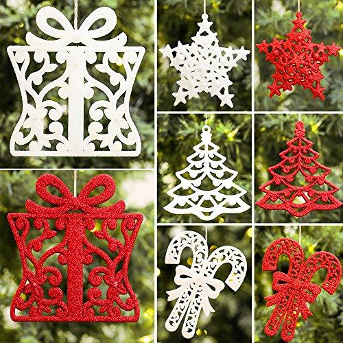 Valery Madelyn 24tlg. wesentliche Rot Weiß bruchsicher Weihnachtsshmuck Weihnachtsbaum Anhänger Dekorationen inkl. Baum, Stern, Geschenkkasten und Zuckerstange, Metallhaken