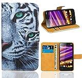 FoneExpert® Wiko Jimmy Handy Tasche, Wallet Case Flip Cover Hüllen Etui Ledertasche Lederhülle Premium Schutzhülle für Wiko Jimmy